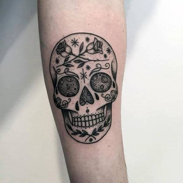 100 sugar skull tattoo designs for men cool calavera ink for Candy skull tattoo