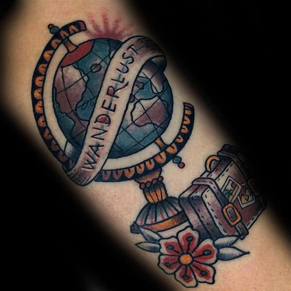 Suitcase With Globe Mens Wanderlust Traditional Inner Arm Bicep Tattoo
