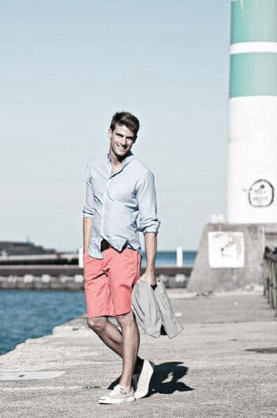 Summer Male Casual Wear Style Ideas Blue Dress Shirt With Redish Color Shorts