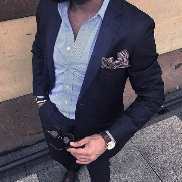 Summer Male Navy Blue Suit Brown Shoes Style Ideas With No Tie And Light Blue Dress Shirt