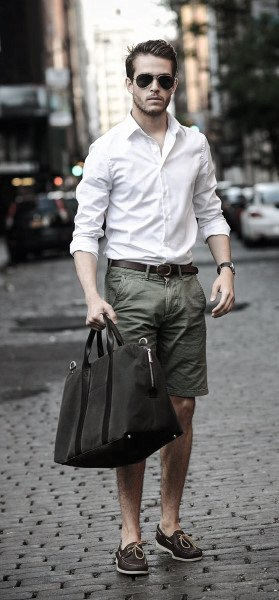 Summer Outfits Style Looks For Men White Dress Shirt With Olive Shorts