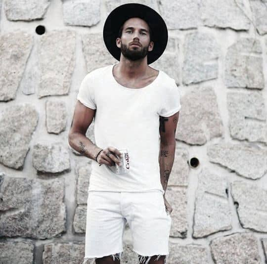Summer Style Male All White Outfit With Shorts And Dress Shirt