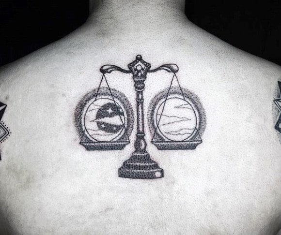 Sun And Moon Guys Libra Back Tattoos