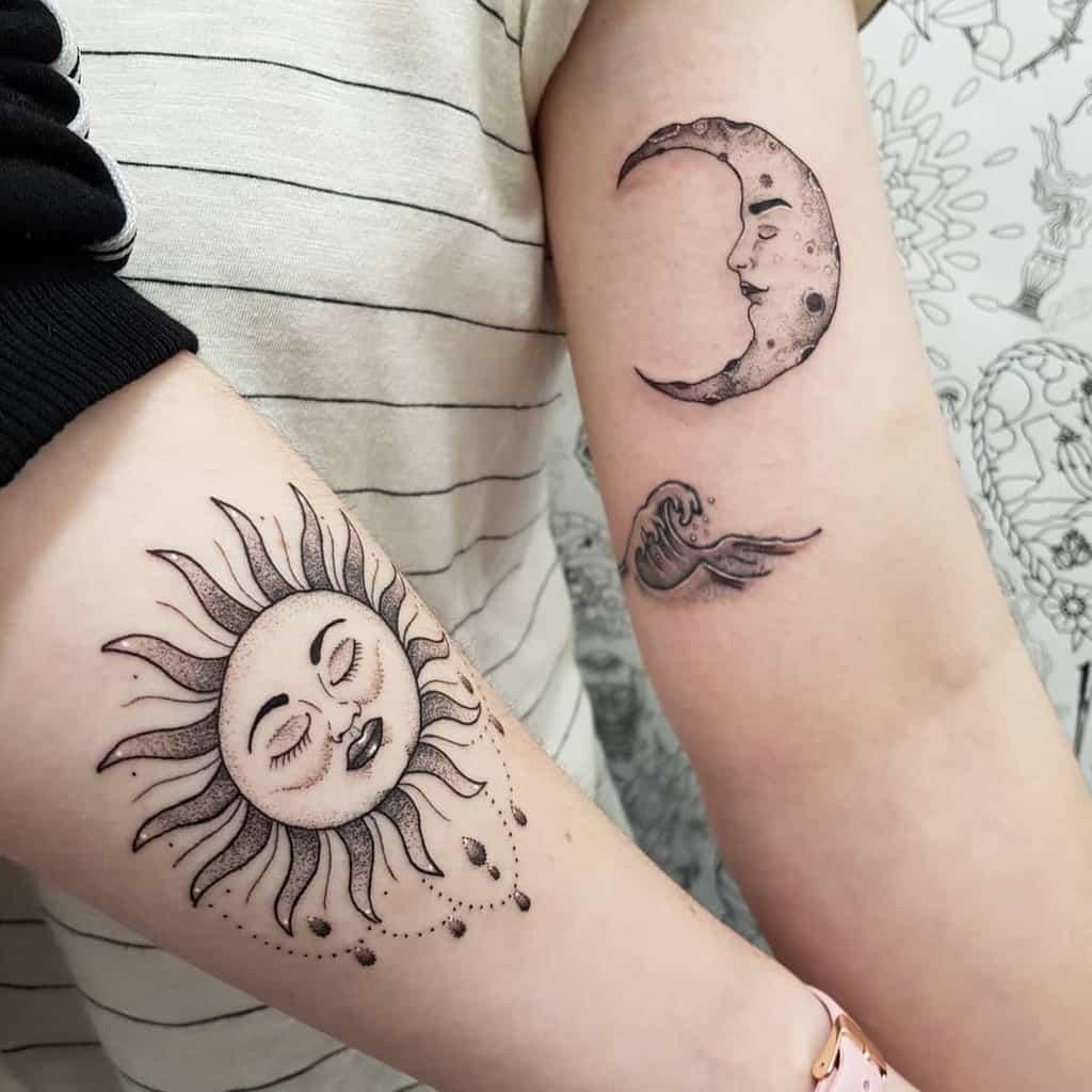 Sun And Moon Wave Friendship Tattoo