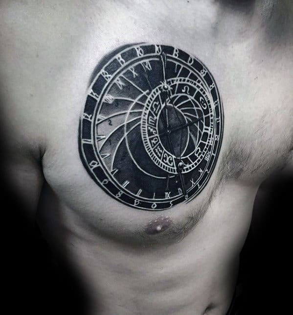 Sun Dial Mens 3d Upper Chest Tattoos