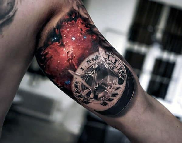 Sun Dial With Outerspace Design Mens 3d Arm Tattoo Designs
