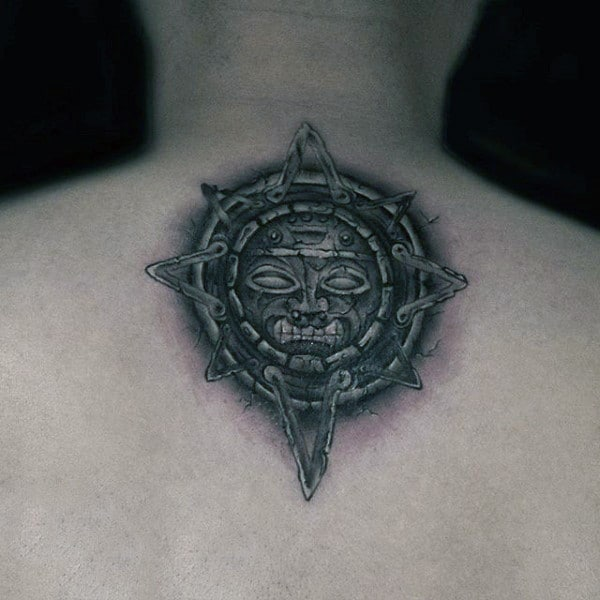 Sun God Mayan Mens Upper Back Tattoos