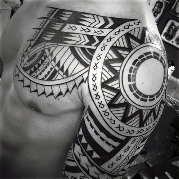 Sun Maori Tribal Mens Shoulder Sleeve Tattoo