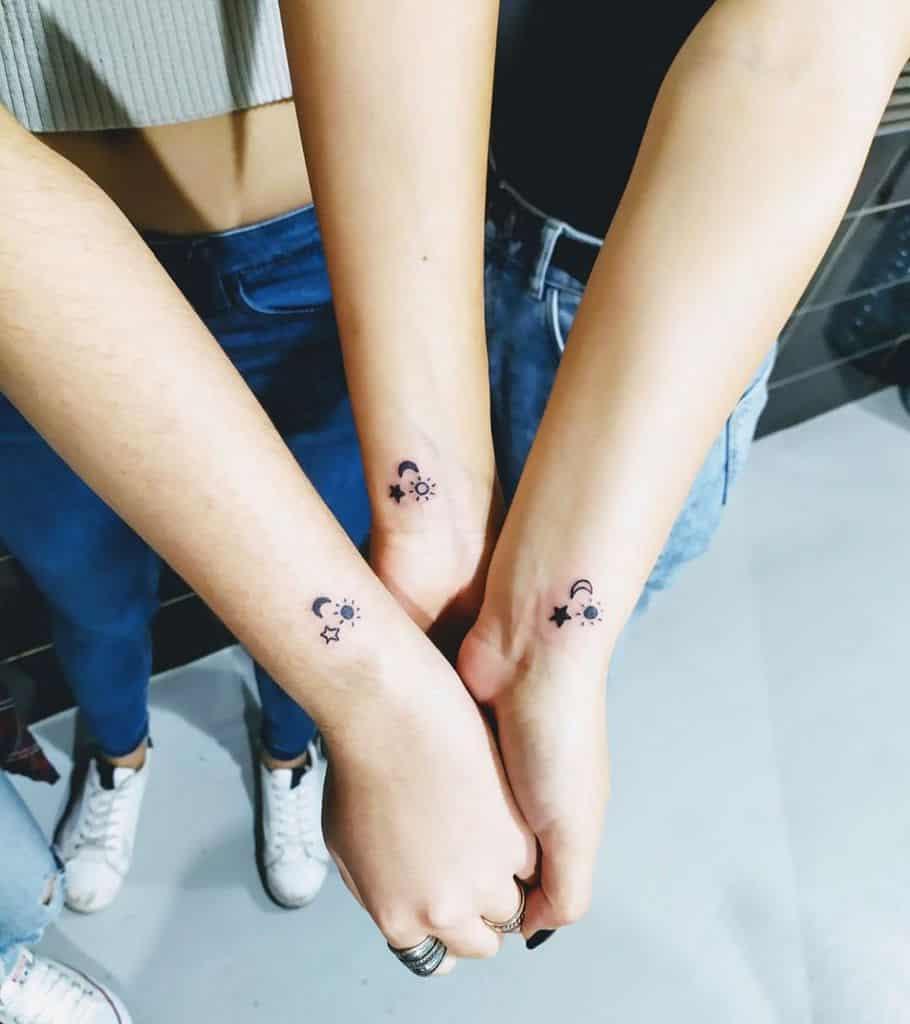 Sun Moon Star Friendship Tattoo