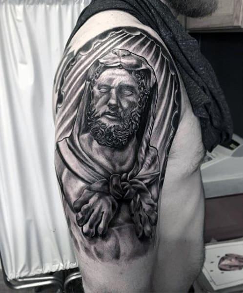 Sun Rays Half Sleeve Hercules Tattoo For Guys