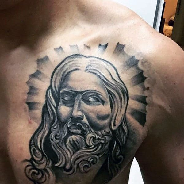 Sun Rays Male Upper Chest Tattoo Of Jesus