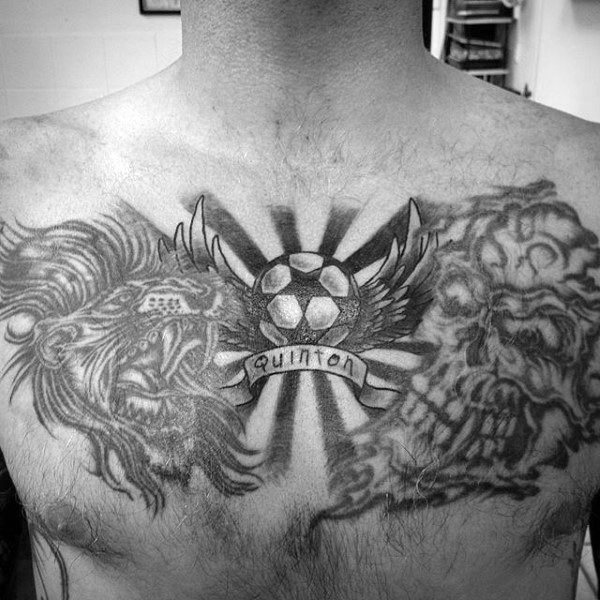 Sun Rays Soccer Mens Chest Tattoos