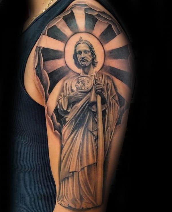 Sun Rays St Jude Guys Half Sleeve Tattoo Designs