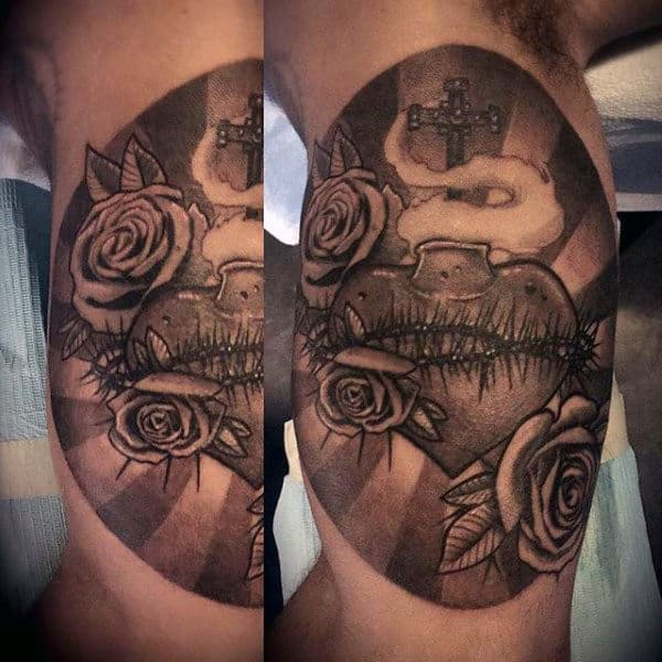 Sun Rays With Sacred Heart Mens Inner Arm Bicep Tattoos