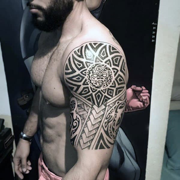 Sun Star Mens Tribal Half Sleeve Tattoos