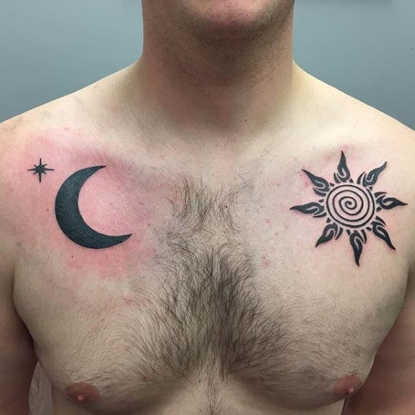 tribal sun and moon tattoos