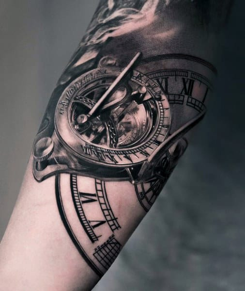 Sundial Clock Tattoo For Men