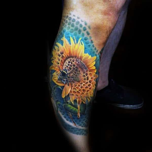 Sunflower Bee Mens Leg Sleeve Tattoos