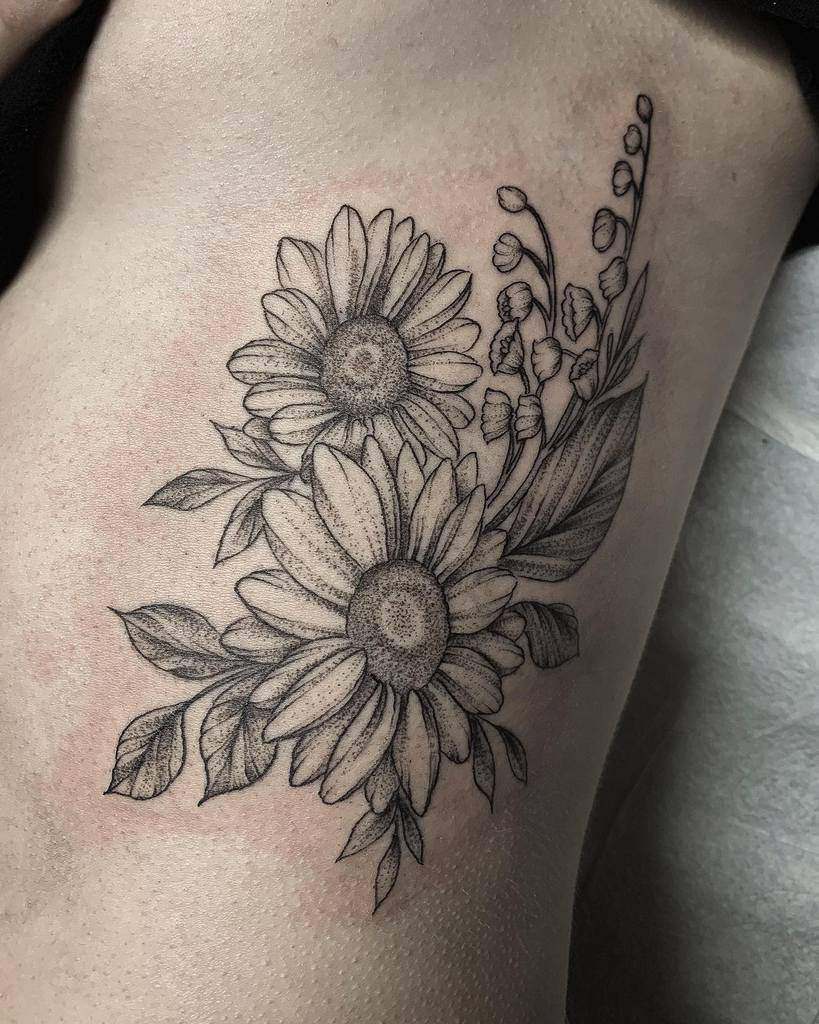 sunflower-black-lily-of-the-valley-tattoo-kayseeshuster