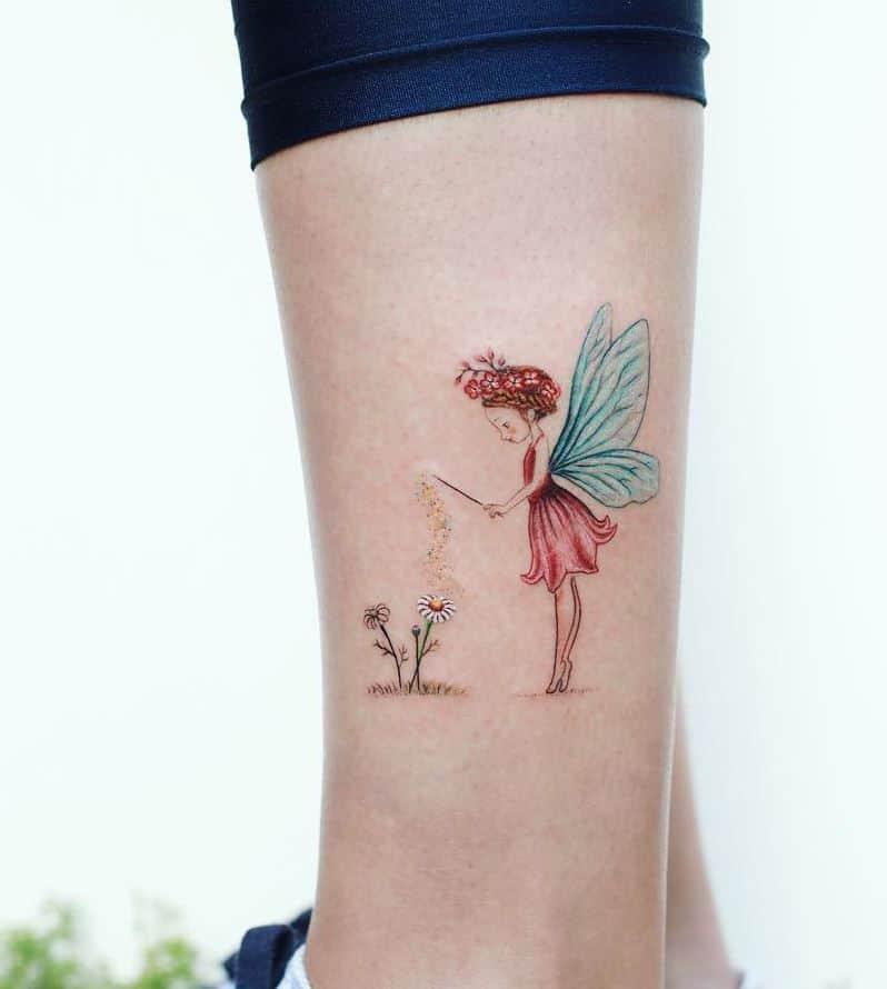 Sunflower Color Fairy Tattoo