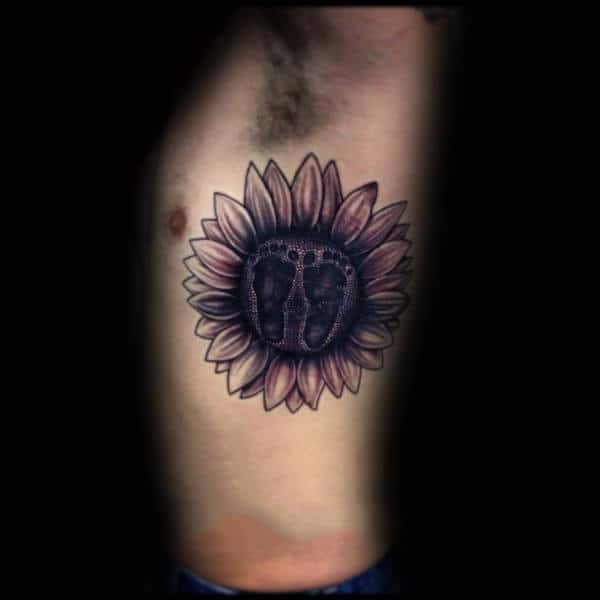 Sunflower Footprint Mens Rib Cage Side Tattoos