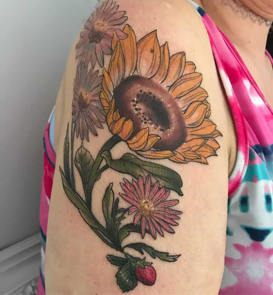 Shoulder tattoo large color sunflower strawberry daisies