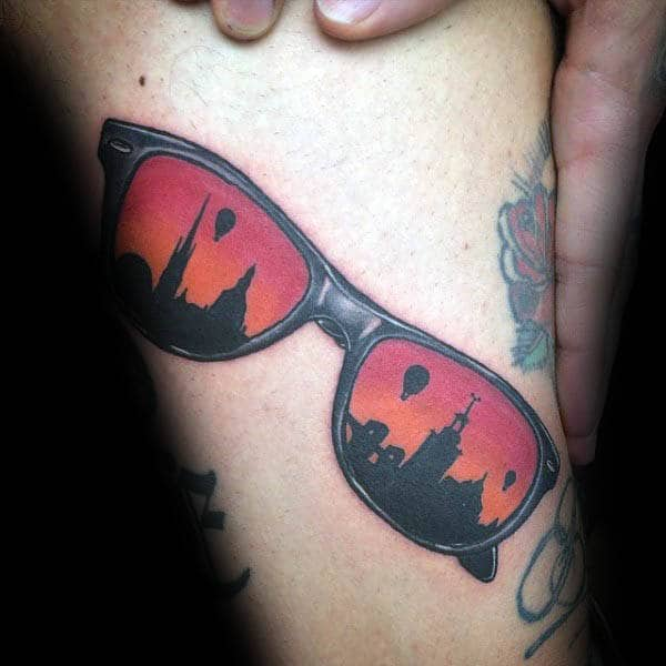Sunglasses With Skyline Silhouette Mens Small Tattoo Ideas