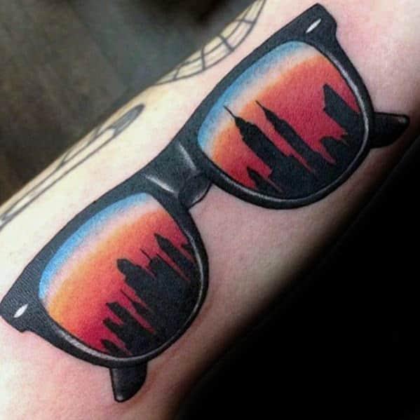 Sunglasses With Skyline Sunset Mens City Inner Forearm Tattoos