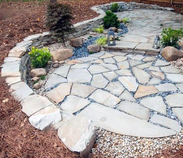 Sunken Cool Flagstone Patio Design Ideas