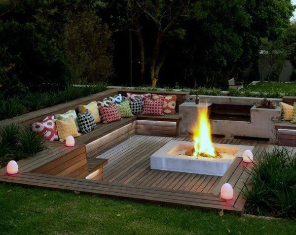 Sunken Fire Pit Cool Backyard Ideas - Top 60 Best Cool Backyard Ideas - Outdoor Retreat Designs