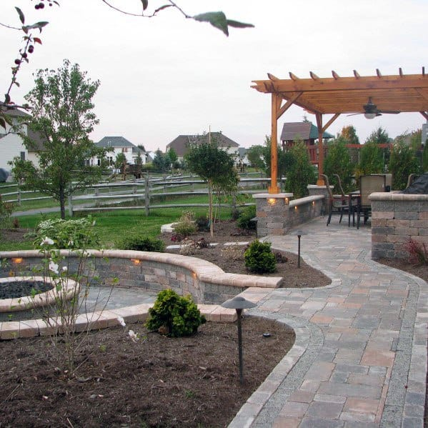 Sunken Fire Pit With Wood Pergola Ideas Paver Patio