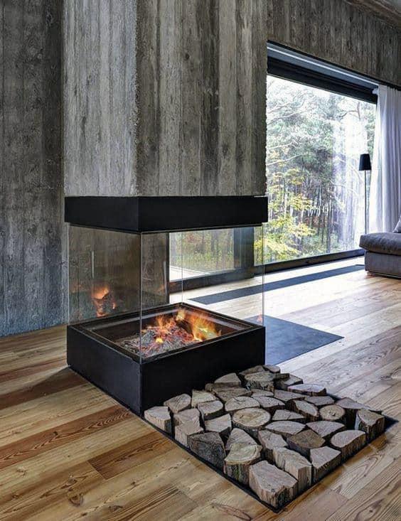 Sunken Firewood Storage In Floor Modern Fireplace Design