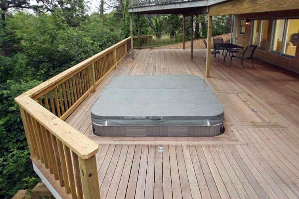 Sunken Hot Tub Wood Deck Ideas