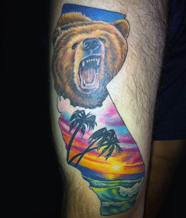 Sunset California Bear Mens Leg Tattoos