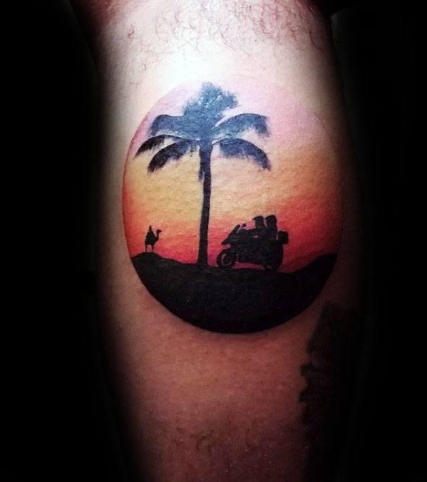 Sunset Camel Mens Leg Calf Circle Tattoos
