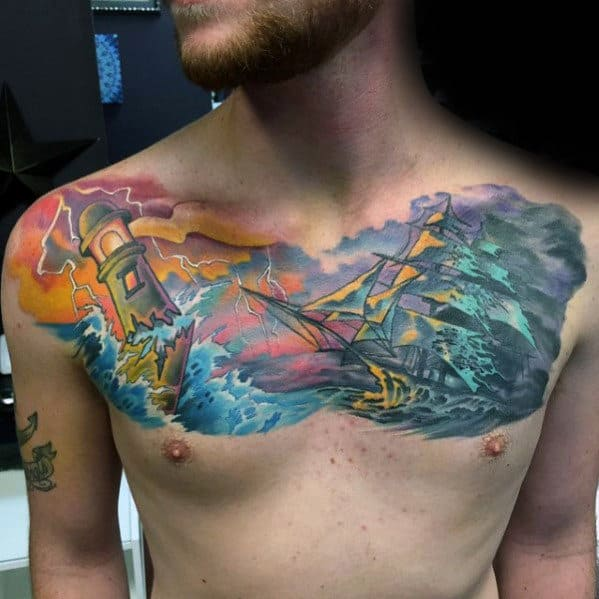 Sunset Clouds With Sailing Ship Mens Watercolor Upper Chest Tattoo Designs