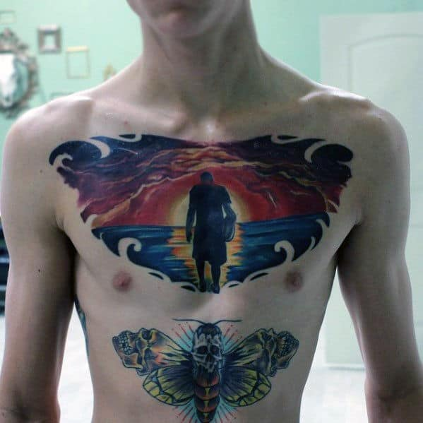 Sunset Clouds With Silhouette Male Upper Chest Tattoo
