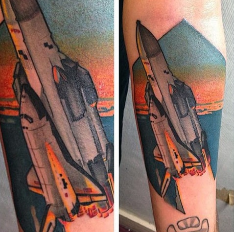 Sunset Clouds With Spaceship Mens Inner Forearm Tattoo