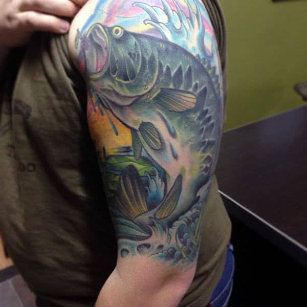 Sunset Fishing Tattoo With Bass Half Sleeve For Guys