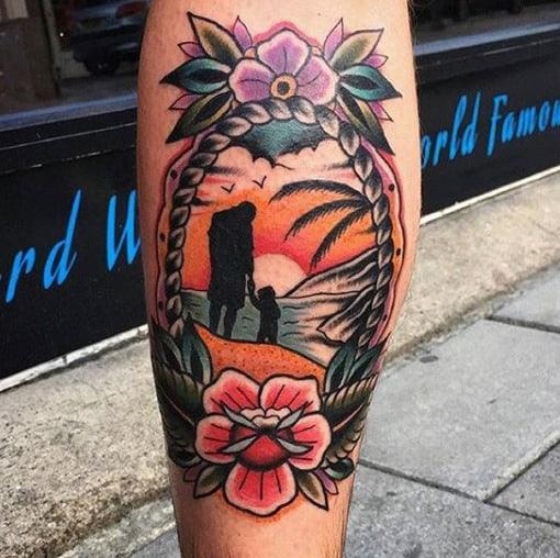 Sunset Hawaiian Father Son Tattoos On Leg