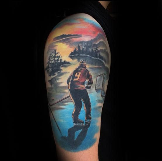 Sunset Hockey Themed Mens Half Sleeve Tattoos