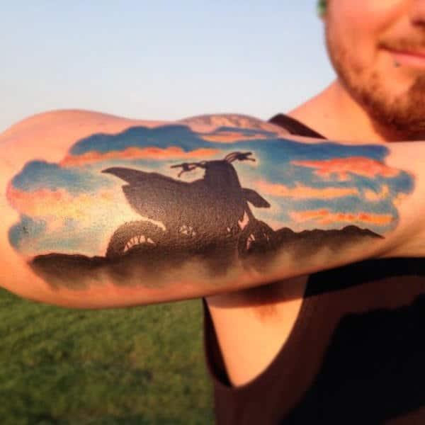 Sunset Motocross Mens Outer Forearm Tattoo