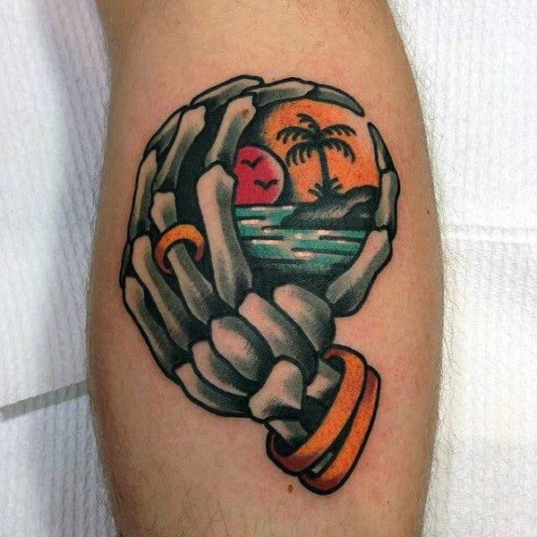 Sunset Ocean Skeleton Hand Mens Leg Tattoo