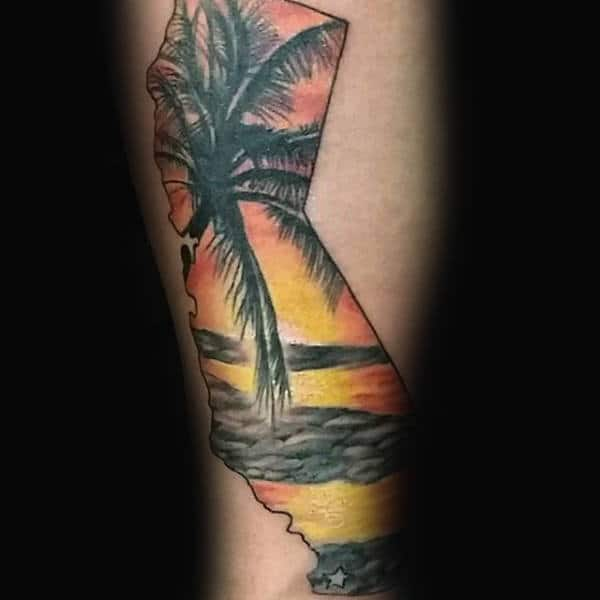 Sunset Palm Tree Guys California Forearm Tattoos