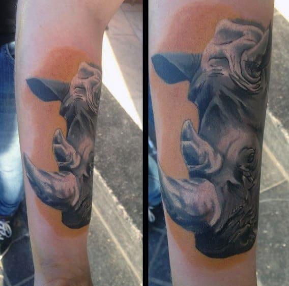 Sunset Rhino Mens Forearm Tattoo
