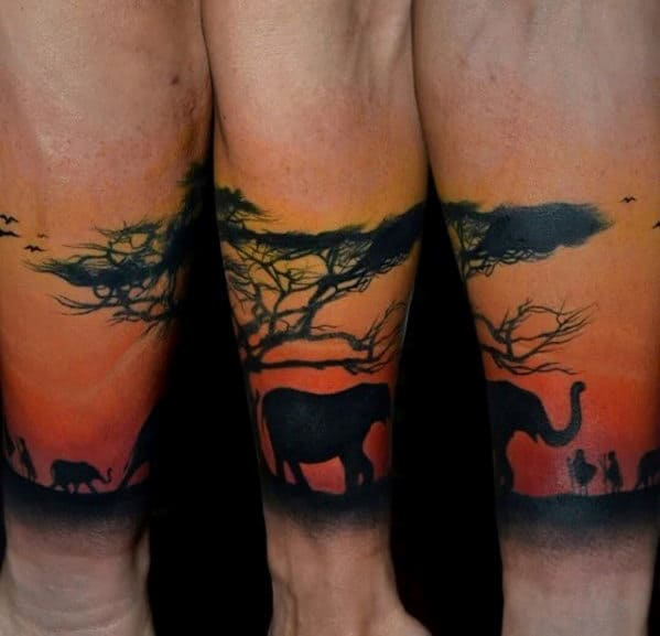Sunset Safari Africa Guys Forearm Band Sleeve Tattoo