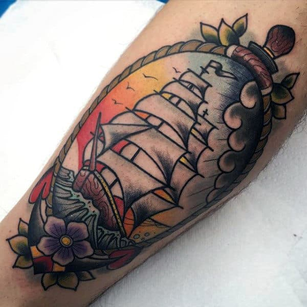 Sunset Sailing Ship Guys Anchor Nautical Traditional Arm Tattoo Design Ideas