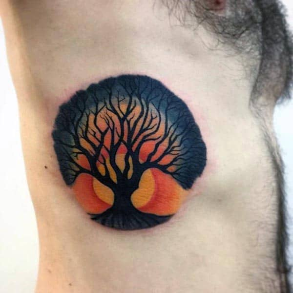 Sunset Tree Of Life Mens Rib Cage Side Tattoos
