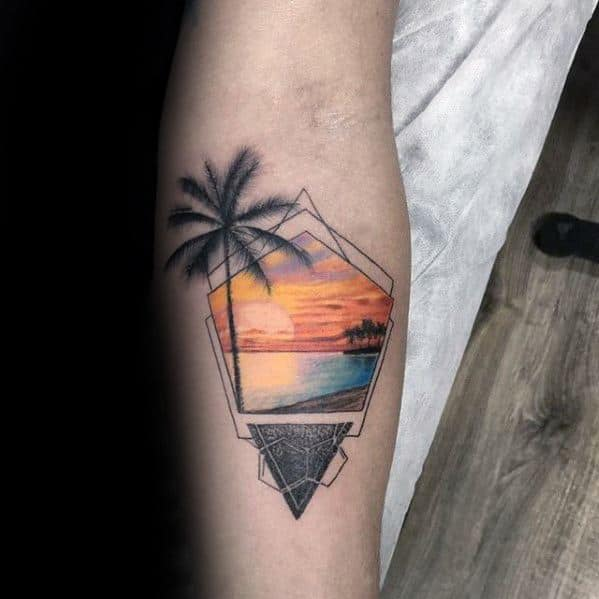 Sunset With Beach Mens Geometric Tattoo On Inner Forearm