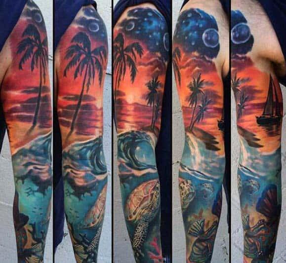 Sunset With Beach Ocean Mens Wave Sleeve Tattoo
